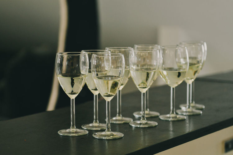 Glass Table Food And Drink Drink Alcohol Refreshment Glass - Material Transparent Indoors  Wineglass Freshness No People Wine Focus On Foreground Drinking Glass Still Life Food Household Equipment Close-up Side By Side Tray Luxury