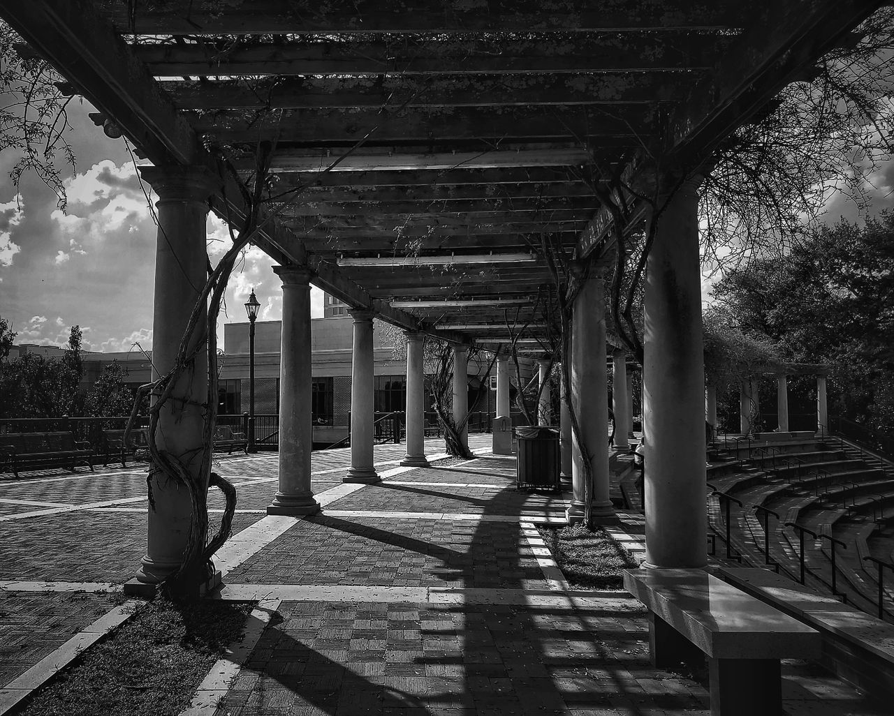The shadows intrigue me Blackandwhite Symmetry Lines Georgia Augusta AugustaGeorgia EyeEm Selects City Downtown Riverwalk Bnw Bw_collection Fine Art Photography Sunlight Architecture Built Structure Sky Under Underneath Passageway