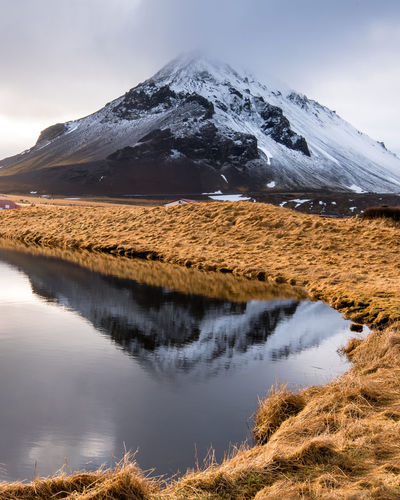 Lanndscape with lake and snowcapped mountain  in iceland.
