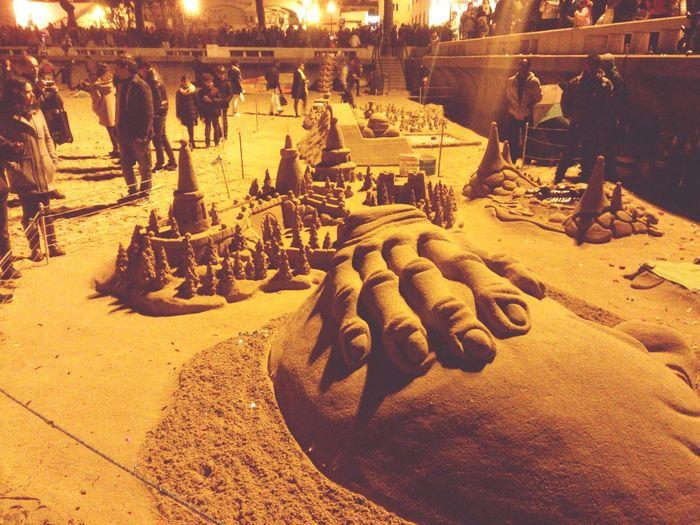 Sand Sculpture Cascais At Night Small Beach
