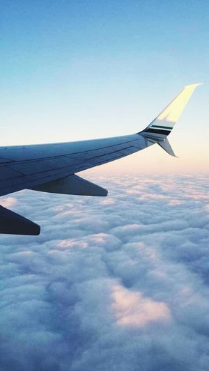 Traveling Home For The Holidays Airplane Aircraft Wing Blue Sky Flying Cloud - Sky Transportation Aerial View Cloudscape Nature No People Day Outdoors Airplane Wing
