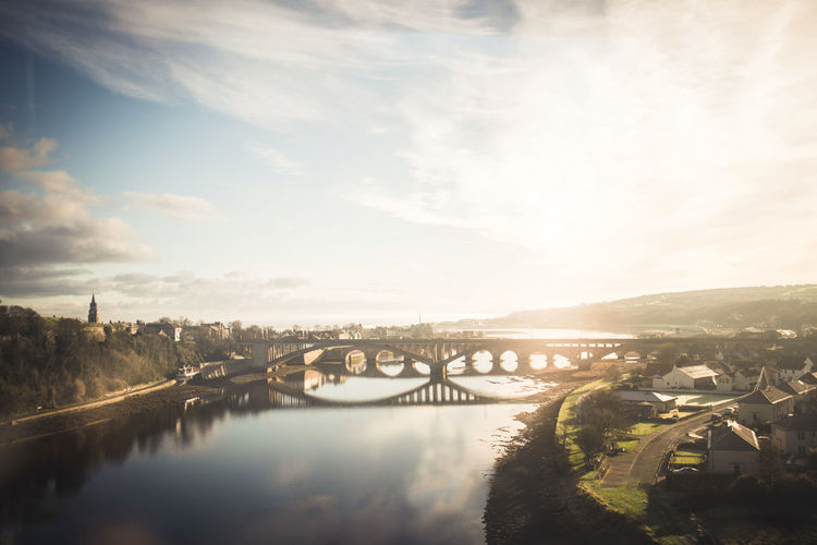 The Bridge Sun Sky Scotland Edinburgh Exploring Lake Reservoir Countryside Water City Sunset Reflection Town Sunlight Sky Building Exterior Cloud - Sky Landscape Calm Shore Horizon Over Water Wave Ocean Seascape Sea Historic Waterfront Shining Boat