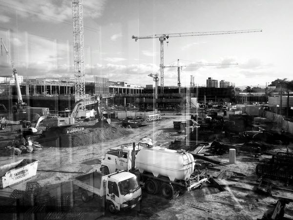 Construction Construction Site Growing Better Blackandwhite Monochrome Light And Shadow Urbanphotography Urbanexploration Taking Photos Through The Window