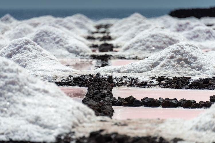 Scenic view of a  sea salt field