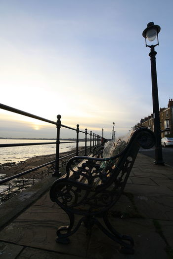 OUT AND ABOUT IN HARTLEPOOL Sky Sunset Architecture Built Structure Water Street Light Railing Street Nature Lighting Equipment Building Exterior Metal Sea Pier Outdoors No People City Nautical Vessel Transportation Promenade Balustrade Iron - Metal