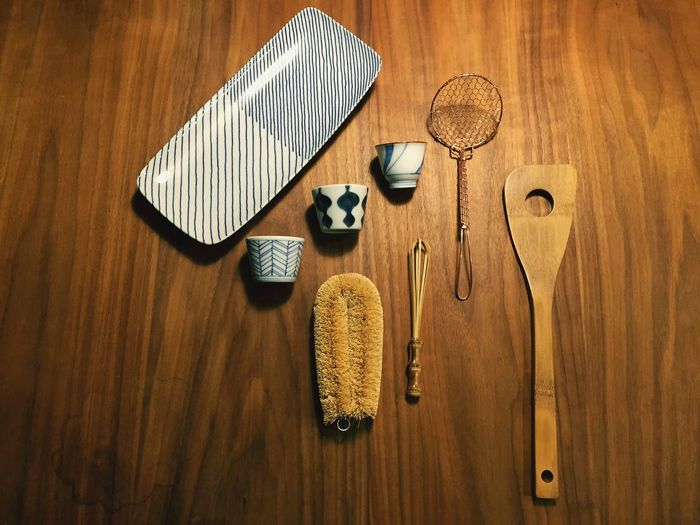 Kitchen utensil on wooden table