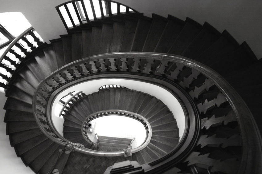 The World Needs More Spiral Staircases Blackandwhite Looking Down