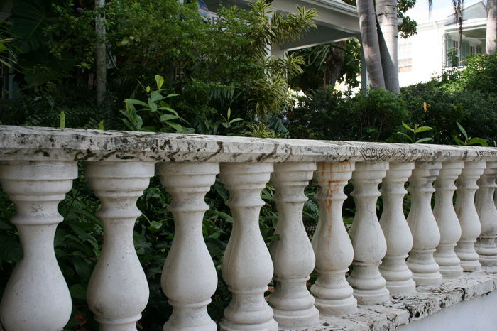 Architectural Column Architecture Close-up Day Fence Key West Marble Marbledstone No Filter No Edit No People Outdoors Posts Railing Row Of Columns Tree White Color