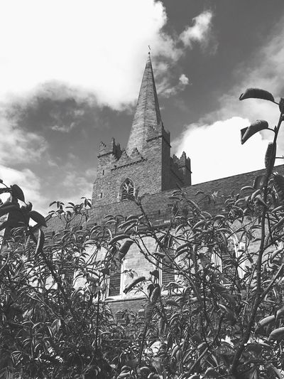 Architecture Built Structure Building Exterior Low Angle View Sky Place Of Worship Spirituality Religion Plant Church Bare Tree Outdoors Day Cloud - Sky Steeple Growth No People History Exterior First Eyeem Photo Monochrome Photography