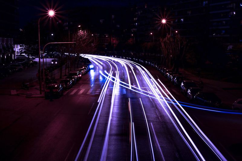 City lights Longexposure Long Exposure Lights Urban Illuminated Night Speed Motion Light Trail Long Exposure Street Transportation Road Lighting Equipment Street Light City Outdoors Architecture No People EyeEmNewHere EyeEmNewHere