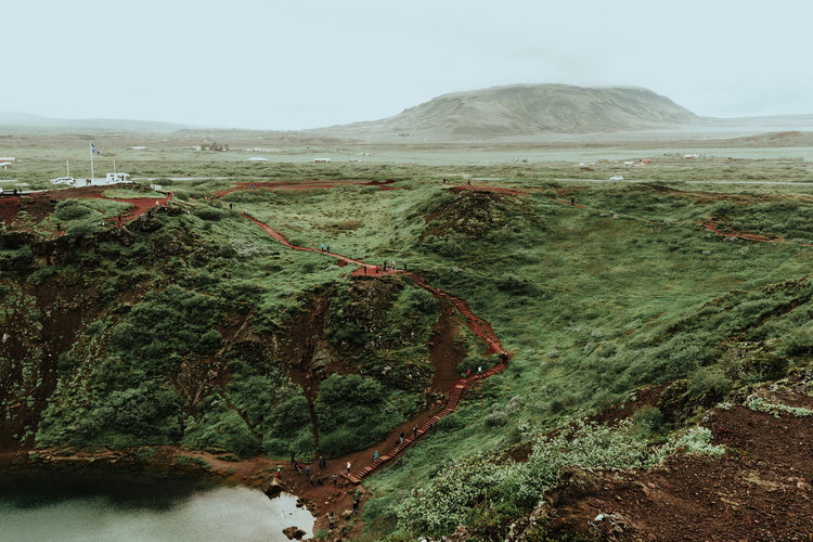 Beauty In Nature Day Environment Geology Idyllic Kerid Kerid Crater Kerið Land Landscape Mountain Nature No People Non-urban Scene Outdoors Physical Geography Plant Remote Rock Scenics - Nature Sky Tranquil Scene Tranquility