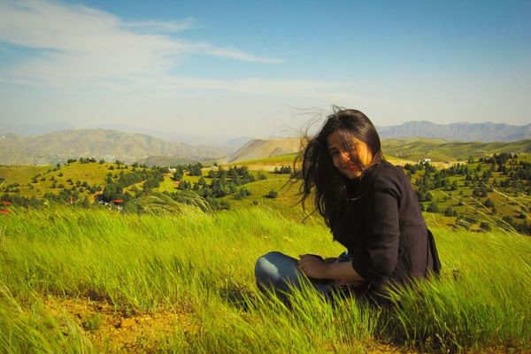 Green Nature People And Nature Persian Girl On The Hilltop Windy Day Windy Hair Windy Popular EyeEm EyeEm Best Shots People People Photography Landscape Green Nature EyeEm Team The Essence Of Summer The Great Outdoors - 2016 EyeEm Awards The Portraitist - 2016 EyeEm Awards Women Around The World Welcome To Black Break The Mold Lost In The Landscape Modern Hospitality