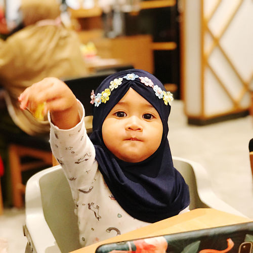 Portrait of cute baby girl at marugame udon