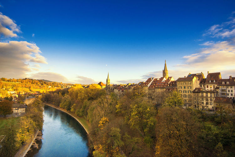 Bern Berner Münster Berner Munster Cathedral Cathedral Architecture Beauty In Nature Bern Switzerland Bridge - Man Made Structure Building Exterior Built Structure City Cityscape Cloud - Sky Day Nature No People Outdoors River Scenics Sky Tree Water