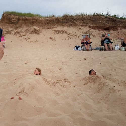 Been There. Done That. Fun Kids Vacations Beach Buried In Sand Summer Connected By Travel