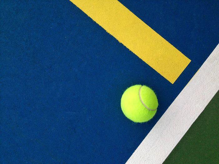 High angle view of tennis ball on court