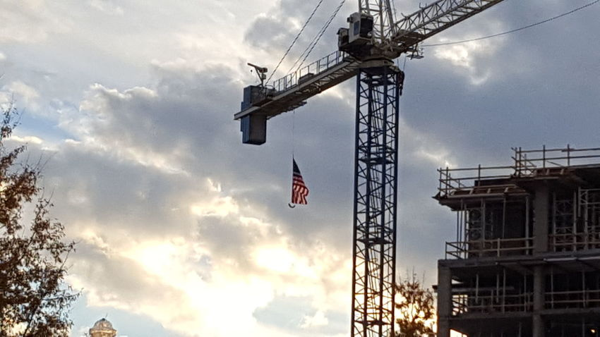 Flag flying from crane Low Angle View Cloud - Sky Sky Outdoors No People Nature Day Love My Life  No Filter, No Edit, Just Photography Out And About Spartanburg, SC Flag Flying On A Crane Almost Sunset
