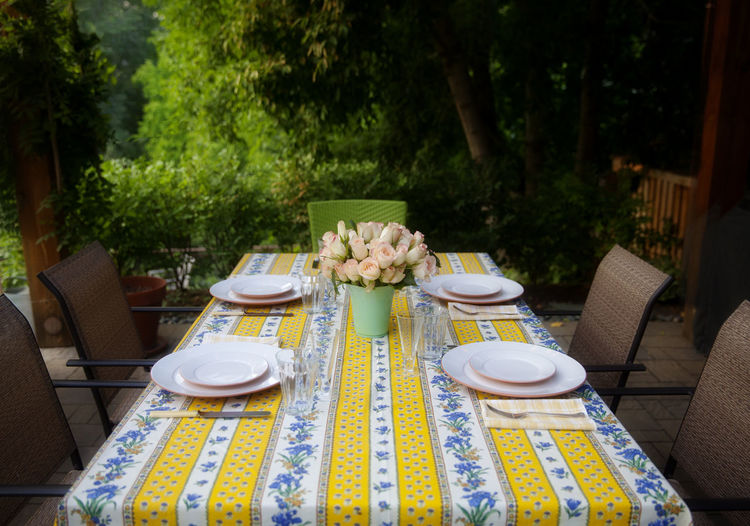 Outdoor table ready for a dinner party. Dinner Party Food And Drink Outside Plate Roses Still Life Table Table Setting Vase Of Roses