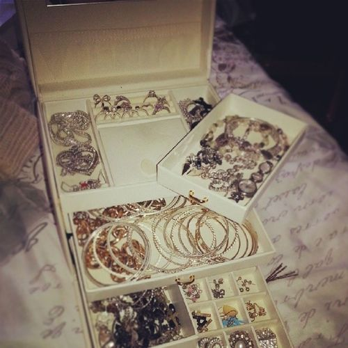 Excessive Amount of Jewellery ? Earrings bracelets rings charms glam bling like gold silver accessories