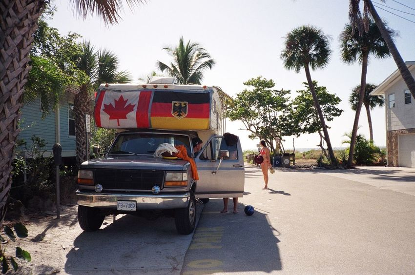 Beach Camper Campervan Camping Film Photography Filmisnotdead Florida Florida Life Friendship Liveauthentic Livefolk Outdoors Palm Tree Road The Way Forward Travel Young Youth