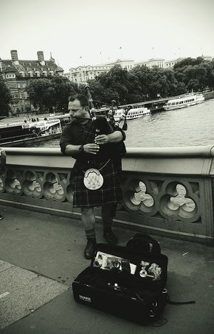 Water Adult Street Artist Bagpiper Bagpipe London England Britain Scotish Theems Canal Day Real People The Street Photographer - 2017 EyeEm Awards Postcode Postcards