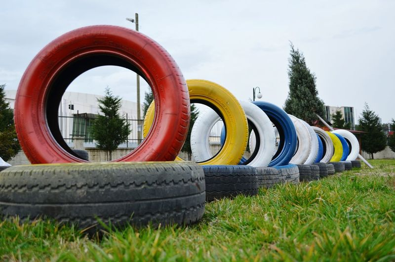 Colorful Rubber Tire Stack In Row