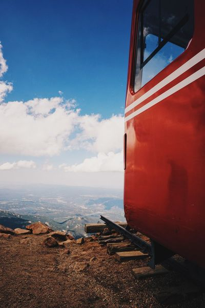 Cliff Dead End Mountain Outdoors Rail Red&blue Scenics Sky And Clouds Train View From Above The Great Outdoors With Adobe The Great Outdoors - 2016 EyeEm Awards Pikes Peak Railway Pike's Peak Railway Train Track Train Dead End Road Deadend Carriage