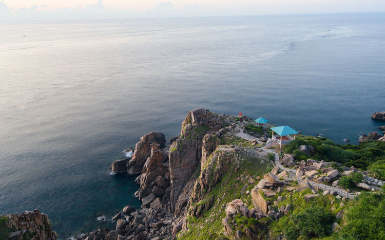 View from Mui Dien lighthouse Mui Dinh Lighthouse Beauty In Nature Dai Lanh High Angle View Horizon Horizon Over Water Land Mui Dien Mui Dien Lighthou Nature No People Outdoors Rock Rock - Object Rocky Coastline Scenics - Nature Sea Solid Tranquil Scene Tranquility Water đại Lãnh