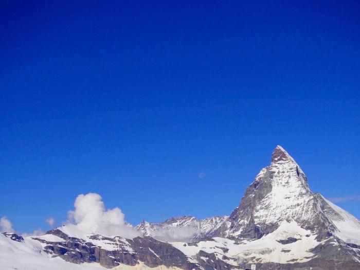 Matterhorn zermatt land lmark mountain peak in green city zero carbon of switzerland