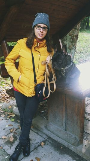 My lover bulldog french and trail Portrait One Woman Only Front View Only Women One Young Woman Only People Smiling Outdoors Standing Atmospheric Mood Nature Autumnbeauty Poland 💗 Autumn🍁🍁🍁 EyeEm Best Edits Autumn Melancholy Nature Beautiful Woman Eyeglasses  Indoors  Best EyeEm Shot Landscape Beauty In Nature Forest Week Of Eyeem Bulldogfrancese