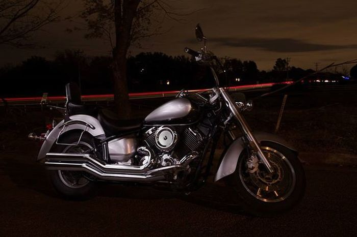 Our bike out at night. Yamaha Motorcycle Crusier Metric Lightpainting Lighttrails Oklahoma
