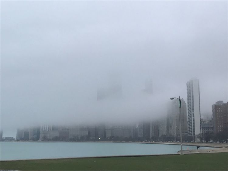 Cityscape Fog Water Urban Skyline Evening Run Lakefront Chicago Amateurphotography Snapshot