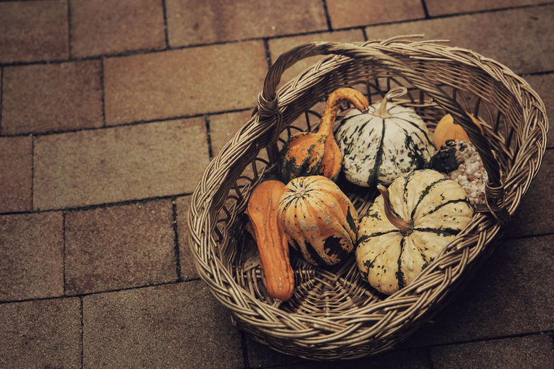 High angle view of wicker basket on floor