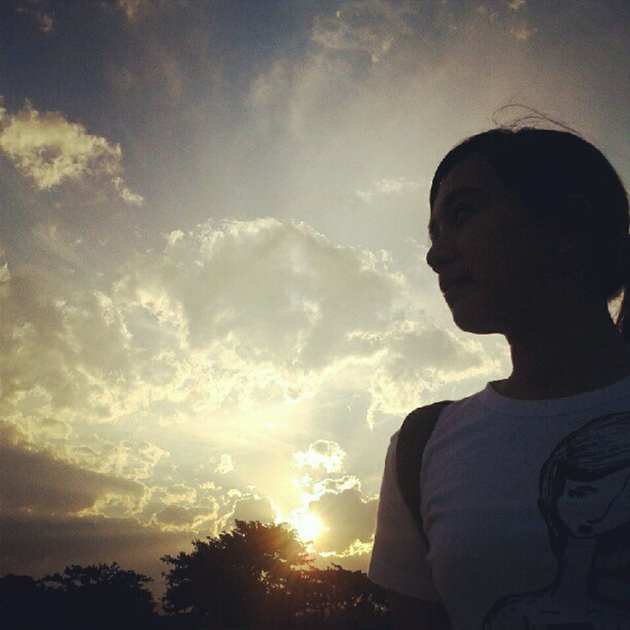 sky, cloud - sky, sunset, low angle view, outdoors, statue, nature, one person, day, tree, beauty in nature