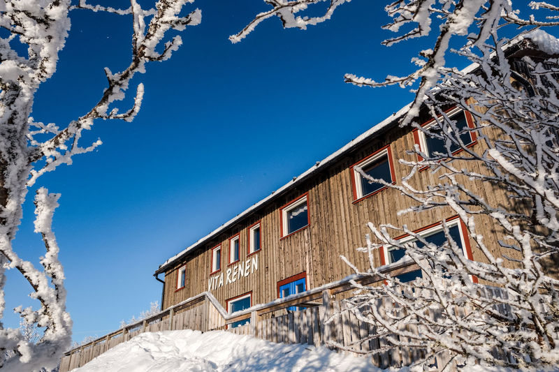 Vita Renen restaurant in the mountains Architecture Bare Tree Beauty In Nature Branch Building Exterior Built Structure Clear Sky Cold Temperature Day Frozen House Low Angle View Nature No People Outdoors Sky Snow Tree Window Winter