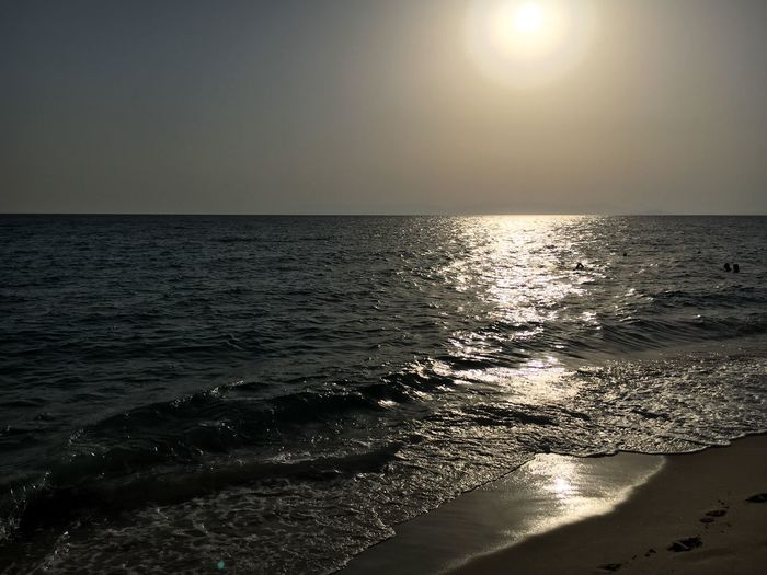 Moon_collection MoonNights Moonnight Moonlight Moon Sea Horizon Over Water Water Scenics Beach Beauty In Nature Nature Tranquil Scene Sunlight Sun Idyllic Sand Sunset Tranquility Reflection No People Wave Sky Clear Sky Outdoors