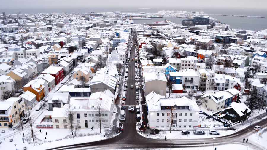 High angle view of cityscape in winter