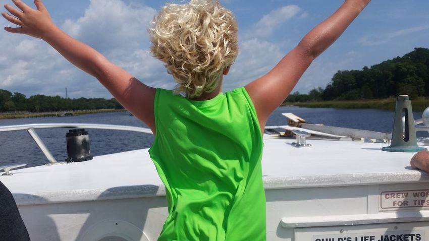 Life Lake Human Arm Water Nautical Vessel Arms Raised Summer One Person Rear View Vacations Outdoors Day Standing Child Blond Hair Sky Live For The Story