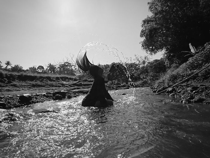 RELAXATION INSIDE THE FOREST Water Nature Splashing Motion Clear Sky Monochrome Photography Non-urban Scene Tranquility Beauty In Nature Tranquil Scene Green Color Sun Sunny Day Splash Portrait Of A Woman Friends Best Moment Missing Mobile Photography XPERIA Xperia X Enjoying Life Relaxation Xperiaphotography