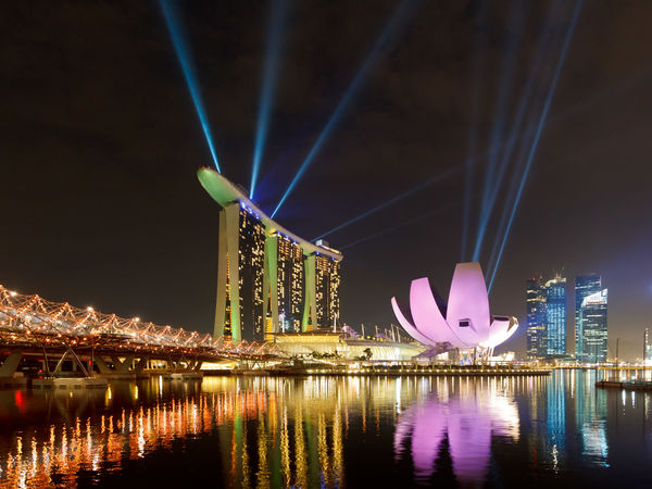 Marina Bay Sands Architecture Built Structure Capital Cities  City Cityscape Illuminated Lasershow Light Lightshow Marina Bay Sands Modern Night Reflection River Tourism Travel Destinations Water Waterfront