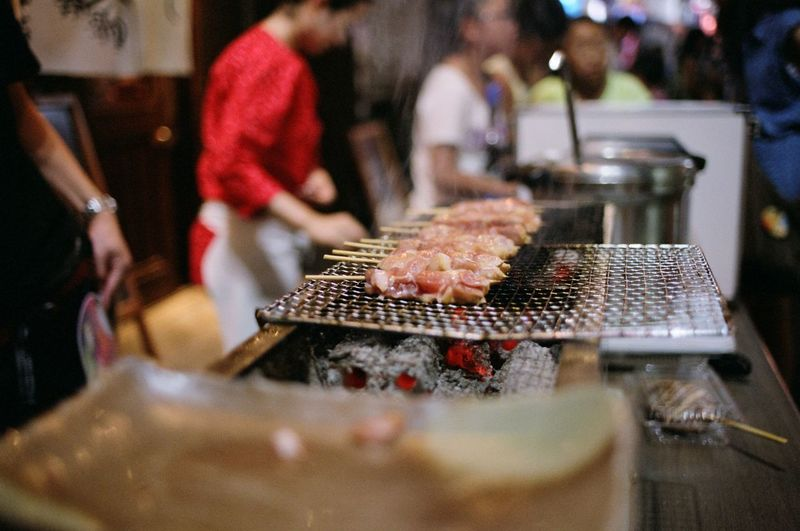 Yakitori Grilling On Stall At Market