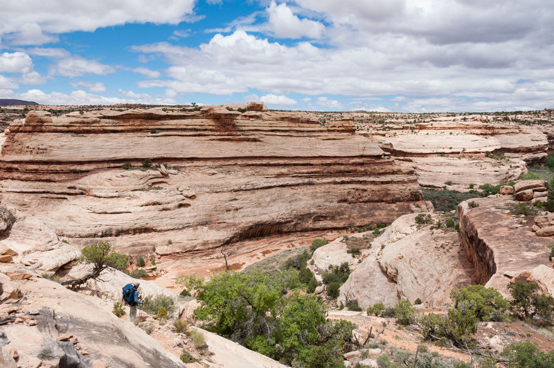 Scenic View Of Bears Ears National Monument Against Cloudy Sky