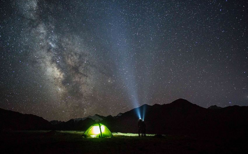 Milky Way above the Pamir mountains Hilleberg Tent Camping Night Star - Space Sky Space Astronomy Scenics - Nature Galaxy Nature Outdoors