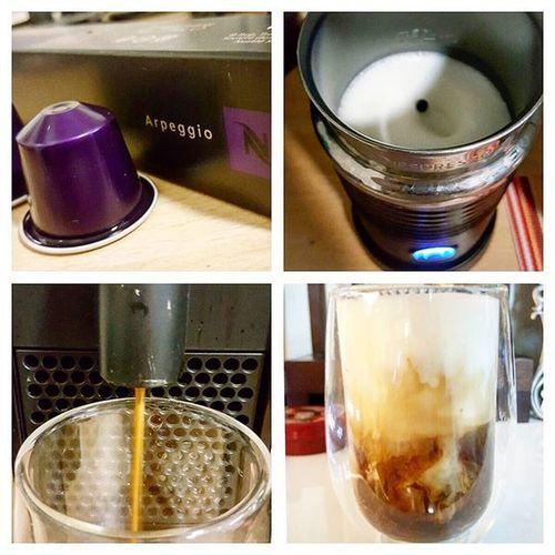 Nespresso Arpeggio Latenightcoffee Homebrewcoffee icecafelatte Having late night coffee again 😆
