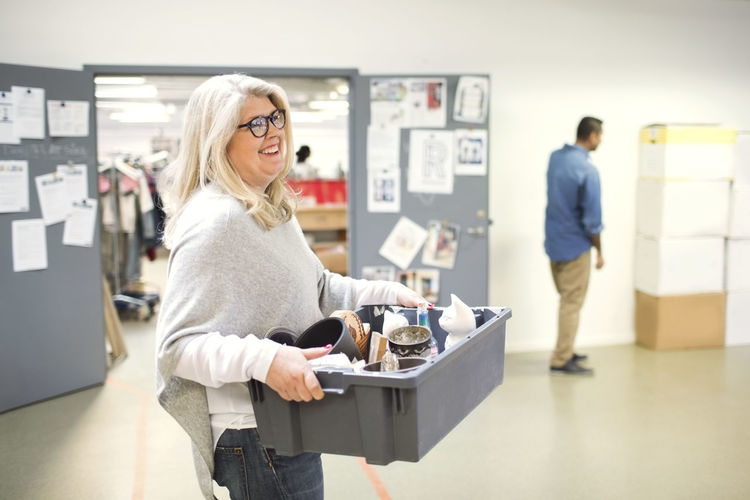 Woman working at store
