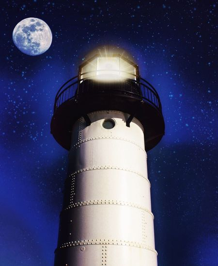 Night Star - Space Sky Moon Lighthouse Astronomy Low Angle View Clear Sky No People Architecture Nature Outdoors Building Exterior Space