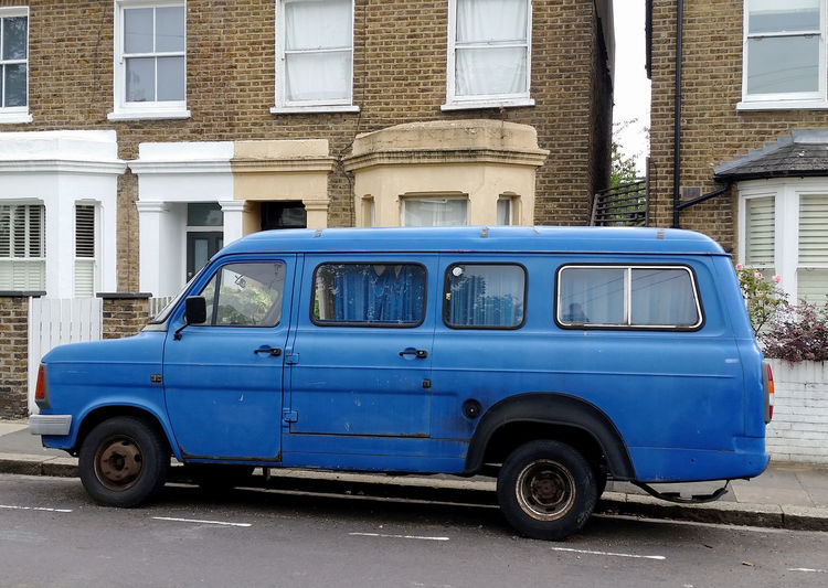 Architecture Blue Van Building Exterior Built Structure Car City City Life Day Ford Transit Classic In Front Of Land Vehicle Mode Of Transport Old Outdoors Parked Parking Residential Structure Road Roadside Stationary Street Transportation Travel London Battered Van