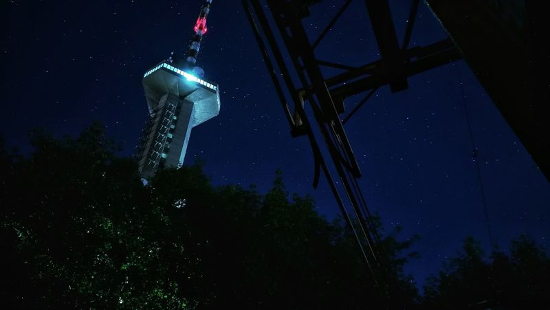 Stranger things Night Illuminated No People Outdoors Star - Space Sky Astronomy Tree TV Tower Radio Tower Stranger Things Mysterious Long Exposure Clear Sky