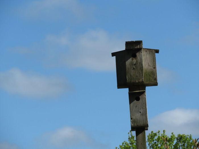 Bird House Blue Sky Wooden Post
