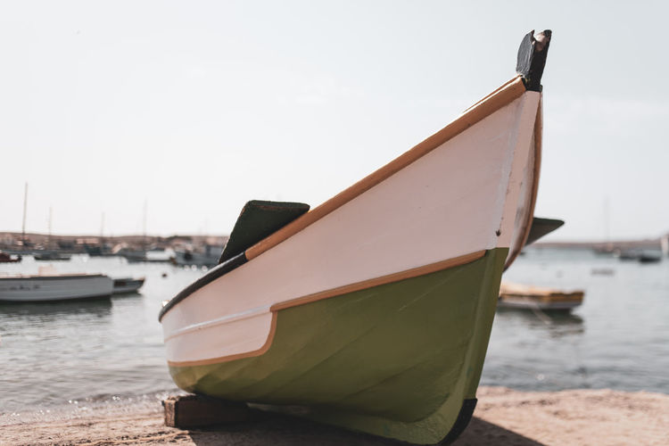 Hoffi99 Day Nautical Vessel Water Transportation Mode Of Transportation Moored Sky No People Nature Sea Focus On Foreground Beach Outdoors Clear Sky Tranquility Land Waterfront Travel Sailboat Fishing Boat Rowboat Anchored